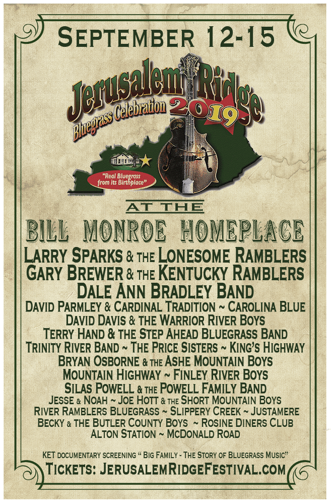 2019 Jerusalem Ridge Bluegrass Celebration @ Bill Monroe Homeplace | Beaver Dam | Kentucky | United States